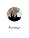 Barcelona Map Skyline Posters