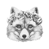 Original Drawing of Fox with Floral Head Wreath. Isolated on White Background. Prints by  victoria_novak