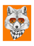 Original Drawing of Fox with Mirror Glasses and Scarf. Isolated on Colored Background Art by  victoria_novak