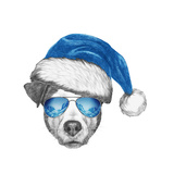 Portrait of Jack Russell Dog with Santa Hat and Sunglasses. Hand Drawn Illustration. Prints by  victoria_novak