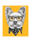 Portrait of Yorkshire Terrier Dog with Glasses and Scarf. Hand Drawn Illustration. Art by  victoria_novak