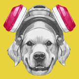 Portrait of Golden Retriever with Gas Mask. Hand Drawn Illustration. Posters by  victoria_novak