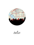 Tulsa Map Skyline Posters