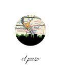 El Paso Map Skyline Art