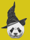 Portrait of Panda with Witch Hat. Halloween Illustration Posters by  victoria_novak