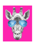 Portrait of Giraffe with Mirror Sunglasses. Hand Drawn Illustration. Posters by  victoria_novak