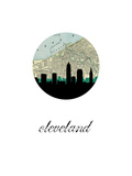 Cleveland Map Skyline Plakaty