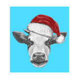 Portrait of Cow with Santa Hat and Sunglasses. Hand Drawn Illustration. Prints by  victoria_novak