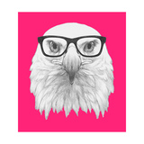 Portrait of Eagle with Glasses. Hand Drawn Illustration. Posters by  victoria_novak