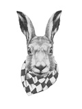 Original Drawing of Rabbit with Scarf. Isolated on White Background Posters by  victoria_novak