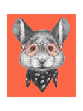Portrait of Mouse with Scarf and Glasses. Hand Drawn Illustration. Poster by  victoria_novak