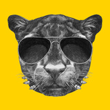 Portrait of Panther with Sunglasses and Collar. Hand Drawn Illustration. Posters af victoria_novak
