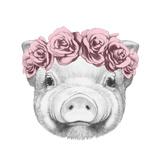 Portrait of Piggy with Floral Head Wreath. Hand Drawn Illustration. Kunstdruck von  victoria_novak