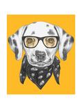 Portrait of Dalmatian Dog with Glasses and Scarf. Hand Drawn Illustration. Kunst af  victoria_novak