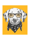 Portrait of Dalmatian Dog with Glasses and Scarf. Hand Drawn Illustration. Art by  victoria_novak