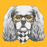 Portrait of Cavalier King Charles Spaniel with Glasses and Scarf. Hand Drawn Illustration. Posters by  victoria_novak