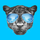 Portrait of Panther with Mirror Sunglasses. Hand Drawn Illustration. Posters af victoria_novak