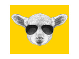 Portrait of Lamb with Sunglasses. Hand Drawn Illustration. Print by  victoria_novak