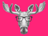 Portrait of Moose with Glasses. Hand Drawn Illustration. Stampe di  victoria_novak