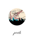 Perth Map Skyline Prints