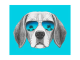 Portrait of Beagle Dog with Mirror Sunglasses. Hand Drawn Illustration. Prints by  victoria_novak