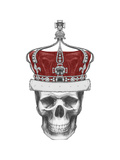 Original Drawing of Skull with Crown. Isolated on White Background Posters by  victoria_novak