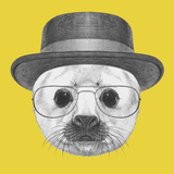 Portrait of Baby Fur Seal with Hat and Glasses. Hand Drawn Illustration. Plakater af victoria_novak