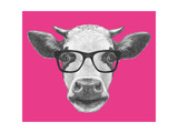 Portrait of Cow with Glasses. Hand Drawn Illustration. Poster by  victoria_novak