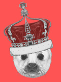 Portrait of Baby Fur Seal with Crown. Hand Drawn Illustration. Prints by  victoria_novak