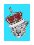 Original Drawing of Leopard with Crown. Isolated on Colored Background. Posters by  victoria_novak