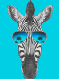 Portrait of Zebra with Mirror Sunglasses. Hand Drawn Illustration. Posters by  victoria_novak