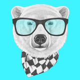 Portrait of Polar Bear with Glasses and Scarf. Hand Drawn Illustration. Prints by  victoria_novak
