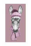 Portrait of Donkey with Hat and Scarf. Hand Drawn Illustration. Print by  victoria_novak