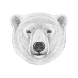 Portrait of Polar Bear. Hand Drawn Illustration. Premium Giclee Print by  victoria_novak