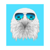 Portrait of Eagle with Mirror Sunglasses. Hand Drawn Illustration. Poster by  victoria_novak