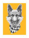 Portrait of German Shepherd with Scarf. Hand Drawn Illustration. Prints by  victoria_novak
