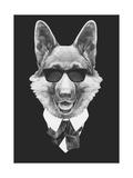 Portrait of German Shepherd in Suit. Hand Drawn Illustration. Posters by  victoria_novak