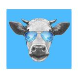 Portrait of Cow. Hand Drawn Illustration. Kunst af  victoria_novak