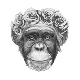 Original Drawing of Monkey with Floral Head Wreath. Isolated on White Background. Posters by  victoria_novak