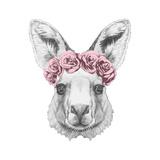 Portrait of Kangaroo with Floral Head Wreath. Hand Drawn Illustration. Kunst af victoria_novak