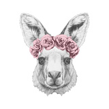 Portrait of Kangaroo with Floral Head Wreath. Hand Drawn Illustration. Sztuka autor victoria_novak