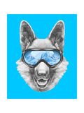 Portrait of German Shepherd with Ski Goggles. Hand Drawn Illustration. Prints by  victoria_novak