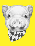 Portrait of Piggy with Scarf. Hand Drawn Illustration. Prints by  victoria_novak