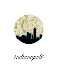 Indianapolis Map Skyline Posters