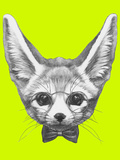 Original Drawing of Fennec Fox with Glasses and Bow Tie. Isolated on Colored Background Posters by  victoria_novak