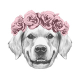 Portrait of Golden Retriever with Floral Head Wreath. Hand Drawn Illustration. Prints by  victoria_novak