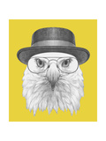 Portrait of Eagle with Hat and Glasses. Hand Drawn Illustration. 高品質プリント :  victoria_novak
