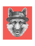 Portrait of German Shepherd with Hat. Hand Drawn Illustration. Print by  victoria_novak