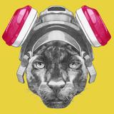 Portrait of Panther with Gas Mask. Hand Drawn Illustration. Plakat af victoria_novak