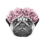 Original Drawing of Pug Dog with Floral Head Wreath. Isolated on White Background Premium Giclee Print by  victoria_novak